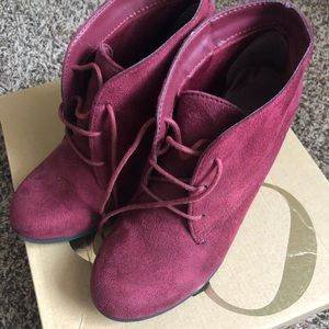 Dark wine red lace up booties